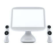 Modern, futuristic computer with monitor and speakers. Modern, futuristic computer with LCD monitor LCD display panel and speakers  on white background Royalty Free Stock Image