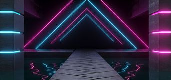 Modern Futuristic Dark Empty Alien Ship Concrete Room With Water. Inside And Hexagonal Floor With Triangle Shaped Purple And Blue Neon Glowing Lights Background vector illustration