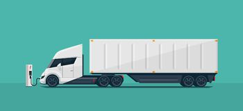Modern Futuristic Electric Semi Truck with Trailer Charging at C. Flat vector illustration of an abstract futuristic white electric semi trailer truck with
