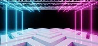 Modern Futuristic Fashion Sci-Fi Empty White Wave SHaped Stage W. Ith Metal Structure And Black BAckground Purple And Blue Neon Lighted Glowing Light Tubes 3D stock illustration