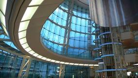 Modern futuristic interior. Interior of modern futuristic building - public hall of japanese airport Royalty Free Stock Photos