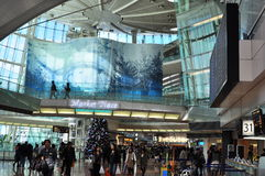 Modern and futuristic interior design. The picture shows the interior design of Haneda Airport, Japan Stock Photo
