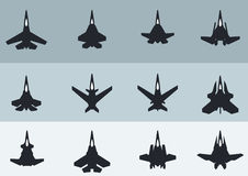 Modern & Futuristic Jet Ffighters silhouettes royalty free illustration
