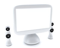 Modern, futuristic LCD computer monitor. LCD display panel with speakers  on white background Royalty Free Stock Images
