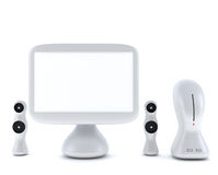 Modern, futuristic LCD computer monitor. LCD display panel with speakers  on white background Royalty Free Stock Photos