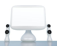 Modern, futuristic LCD computer monitor isolated Royalty Free Stock Photos