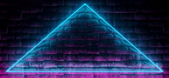 Modern Futuristic Neon Club Blue And Purple Triangle Tube Lighte. D Empty Space Old Grunge Stone Bricked Detailed Wall In Room Wallpaper Background 3D Rendering royalty free illustration