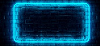 Modern Futuristic Neon Club Blue Rectangle Tube Lighted Empty Sp. Ace Old Grunge Stone Bricked Detailed Wall In Room Wallpaper Background 3D Rendering vector illustration