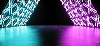 Modern Futuristic Retro Sci Fi Triangle Shaped Stage Constructio. Ns With Neon Glowing Purple Blue Pink Cross Shaped Light Tubes Empty Space Background 3D royalty free illustration
