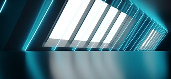 Modern Futuristic Sci Fi Alien Ship Reflective Dark Empty Long Corridor Tunnel With Big White Windows And Blue Triangle Shaped. Neon Glowing Lines Background 3D stock illustration