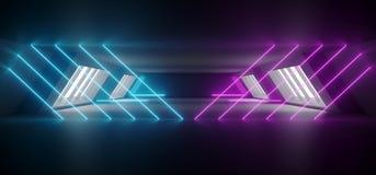 Modern Futuristic Sci Fi Alien Ship Reflective Dark Empty Long Corridor Tunnel With Big White Windows And Purple Blue Triangle. Shaped Neon Glowing Lines stock illustration