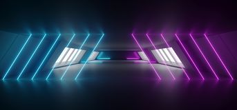 Modern Futuristic Sci Fi Alien Ship Reflective Dark Empty Long Corridor Tunnel With Big White Windows And Purple Blue Triangle. Shaped Neon Glowing Lines royalty free illustration