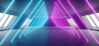 Modern Futuristic Sci Fi Alien Ship Reflective Dark Empty Long Corridor Tunnel With Big White Windows And Purple Blue Triangle. Shaped Neon Glowing Lines vector illustration