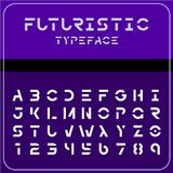 Modern futuristic sci-fi font. Future space text. Modern futuristic sci-fi font. Strong future space style typeface with gaps. Electronic, techno, geometric Royalty Free Stock Images