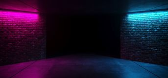 Modern Futuristic Sci Fi Retro Elegant Club Disco Party neon GLowing Purple PInk Blue Grunge Bricks Concrete Room With Glowing. Lights Empty Stage Background vector illustration