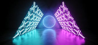 Modern Futuristic Sci Fi Retro Empty Podium Stage With Triangle. Shaped Construction With Neon Glowing Cross Shaped Blue Purple Lights With Circle Neon Lights royalty free illustration