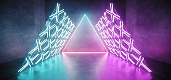 Modern Futuristic Sci Fi Retro Empty Podium Stage With Triangle. Shaped Construction With Neon Glowing Cross Shaped Blue Purple Lights With Triangle Neon Lights stock illustration