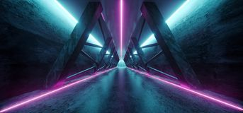 Modern Futuristic Sci Fi Spaceship Triangle Dark Empty Corridor. With Door And Purple And Blue Neon Glowing Tube Lights Reflections Background 3D Rendering vector illustration