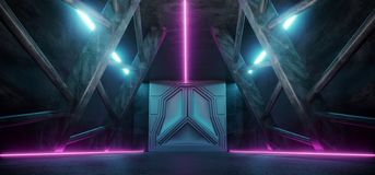 Modern Futuristic Sci Fi Spaceship Triangle Dark Empty Corridor. With Door And Purple And Blue Neon Glowing Tube Lights Reflections Background 3D Rendering royalty free illustration