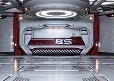 Modern futuristic spaceship interior background. Stock Images