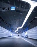 Modern futuristisk design av en underjordisk tunnel royaltyfria foton