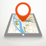 Modern gadget with abstract city map Royalty Free Stock Image
