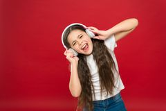 Modern gadget concept. Music taste. Music plays an important part lives teenagers. Powerful effect music teenagers their. Emotions, perception of world. Girl stock image