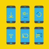 Modern gadget with different system messages. Lineart vector ill Royalty Free Stock Photography
