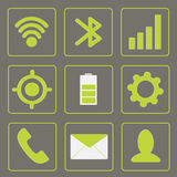 Modern gadget icons. Mobile icon set. Green and gr. Ey. Vector illustration Royalty Free Stock Photography
