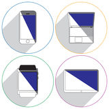 Modern gadgets icons with shadow. Royalty Free Stock Photo