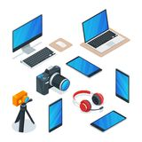 Modern gadgets, multimedia, technology and electronics symbols. Vector isometric 3d isolated icons set vector illustration