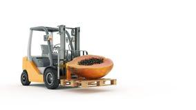 Modern gaffeltruck med papayaen vektor illustrationer