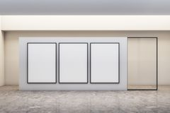 Modern gallery with banner. Modern white concrete gallery interior with empty banner. Mock up, 3D Rendering stock illustration