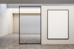 Modern gallery with billboards. Modern white concrete gallery interior with empty billboards. Mock up, 3D Rendering royalty free illustration