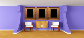 Modern gallery with luxurious armchairs and bureau Royalty Free Stock Photography