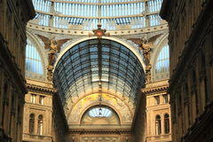 Modern gallery in Naples, Italy. The modern Umberto I gallery in Naples, southern Italy, a public shopping gallery in the center of the city stock images