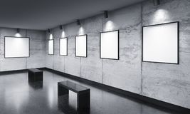 Modern gallery room with poster exhibition Stock Images