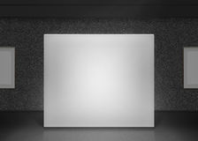 Modern gallery wall mockup in darkness. Dark museum hall Stock Images