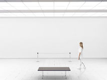 Modern gallery wall mockup. Woman walk in museum hall. With blank wal, fence, bench. White clear stand mock up show. Display artwork presentation. Art design Stock Photos