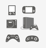 Modern game console silhouettes Royalty Free Stock Photo