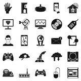 Modern game icons set, simple style. Modern game icons set. Simple set of 25 modern game vector icons for web isolated on white background Stock Photography