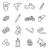 Modern Gangster or Outlaw Gang Icons Thin Line Vector Illustration Set. This image is a vector illustration and can be scaled to any size without loss of Stock Photography