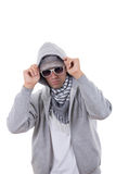 Modern gangster in sweatshirt with hood and sunglasses Royalty Free Stock Images