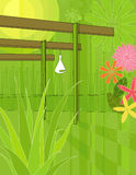 Modern Garden Arbor. Modern, colorful stylized illustration of an outdoor patio garden with an aloe vera in the foreground Royalty Free Stock Photos