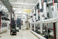 Modern gas boiler room stock photo