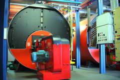 Modern gas boiler room Royalty Free Stock Images