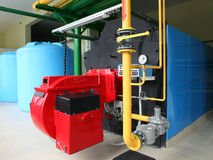 Modern gas boiler room Royalty Free Stock Photography