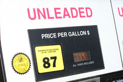 Modern gas pump. At a filling station in Monterey, California, showing the price of unleaded gasoline at $4.55 per gallon royalty free stock photos