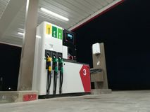 Modern Gas station in France. Petrol pump Gas station for diesel and benzine Royalty Free Stock Photos
