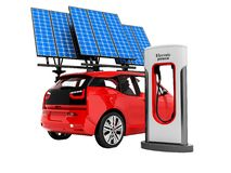 Modern gas station for red electric car with column and solar pa stock illustration